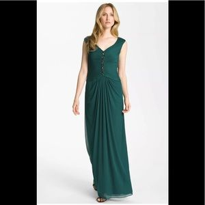 Adrianna Papell Occasions Teal Prom Maxi Dress 6P